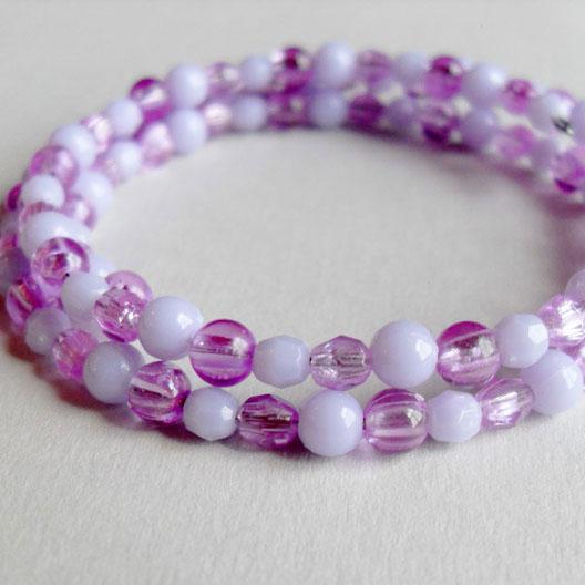Lilac Purple Pastel Wrap Bead Bracelet