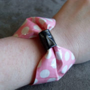 Pink Polka Dot Bow Duct Tape Bracelet by Wilde Designs