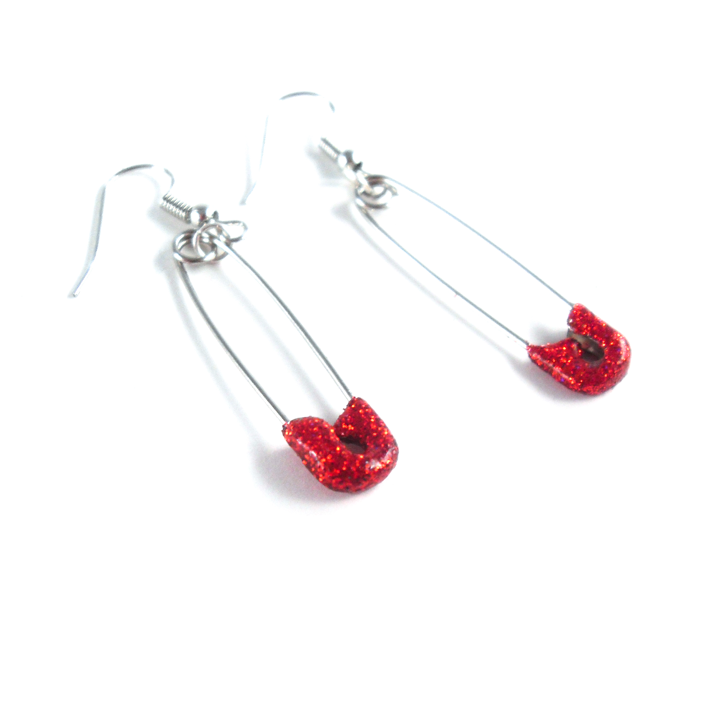 Red Glittery Safety Pin Earrings by Wilde Designs
