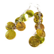 Lime Green Mermaid Scale Earrings by Wilde Designs