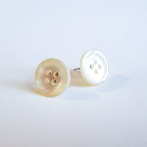 White Button Earrings