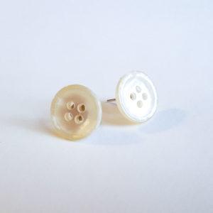 White Button Earrings