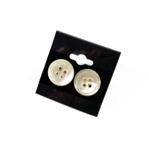 White Button Earrings by Wilde Designs