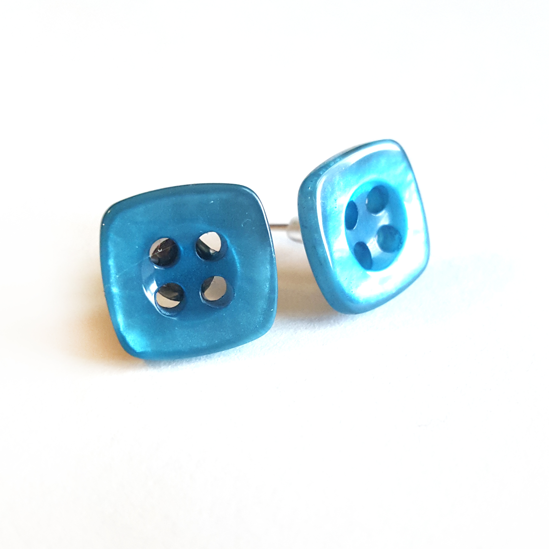 Blue Button Earrings by Wilde Designs