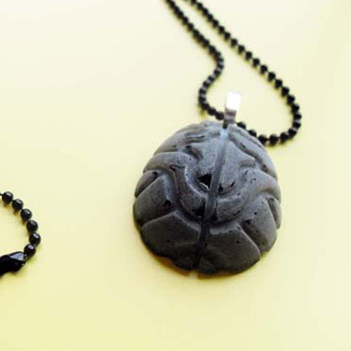 Black Brain Necklace by Wilde Designs