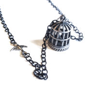 Silver Bird Cage Necklace by Wilde Designs