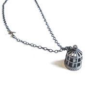 Silver Bird Cage Necklace by Wilde Designs