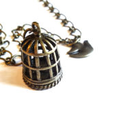 Antique Gold Bird Cage Necklace by Wilde Designs