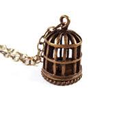 Antique Gold Bird Cage Necklace by Wilde Designs