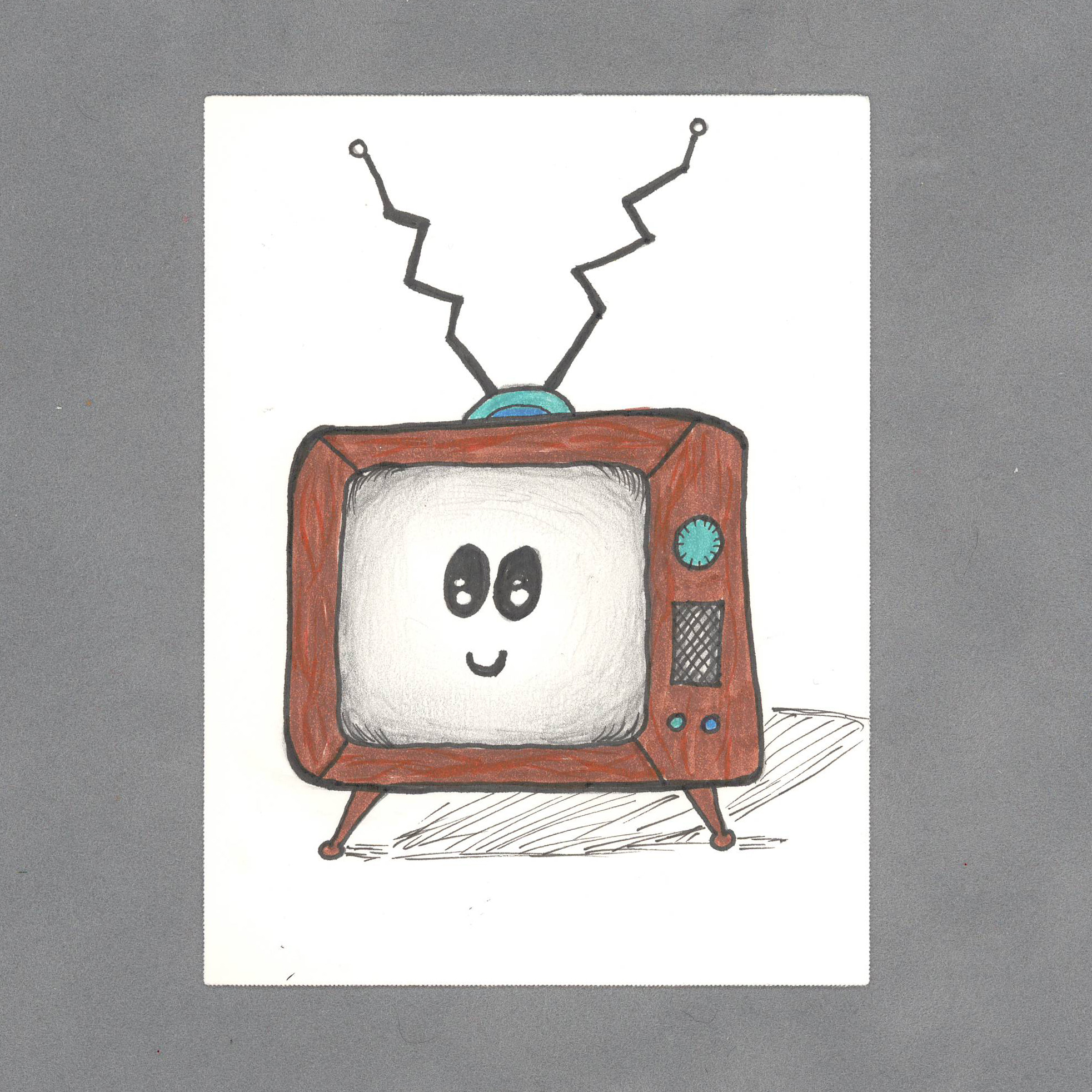 Kawaii Television Art Card by Wilde Designs