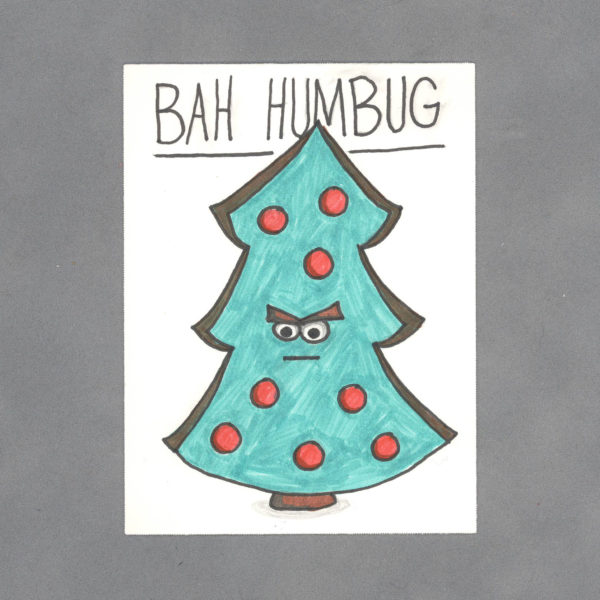 Bah Humbug Christmas Tree Art Card