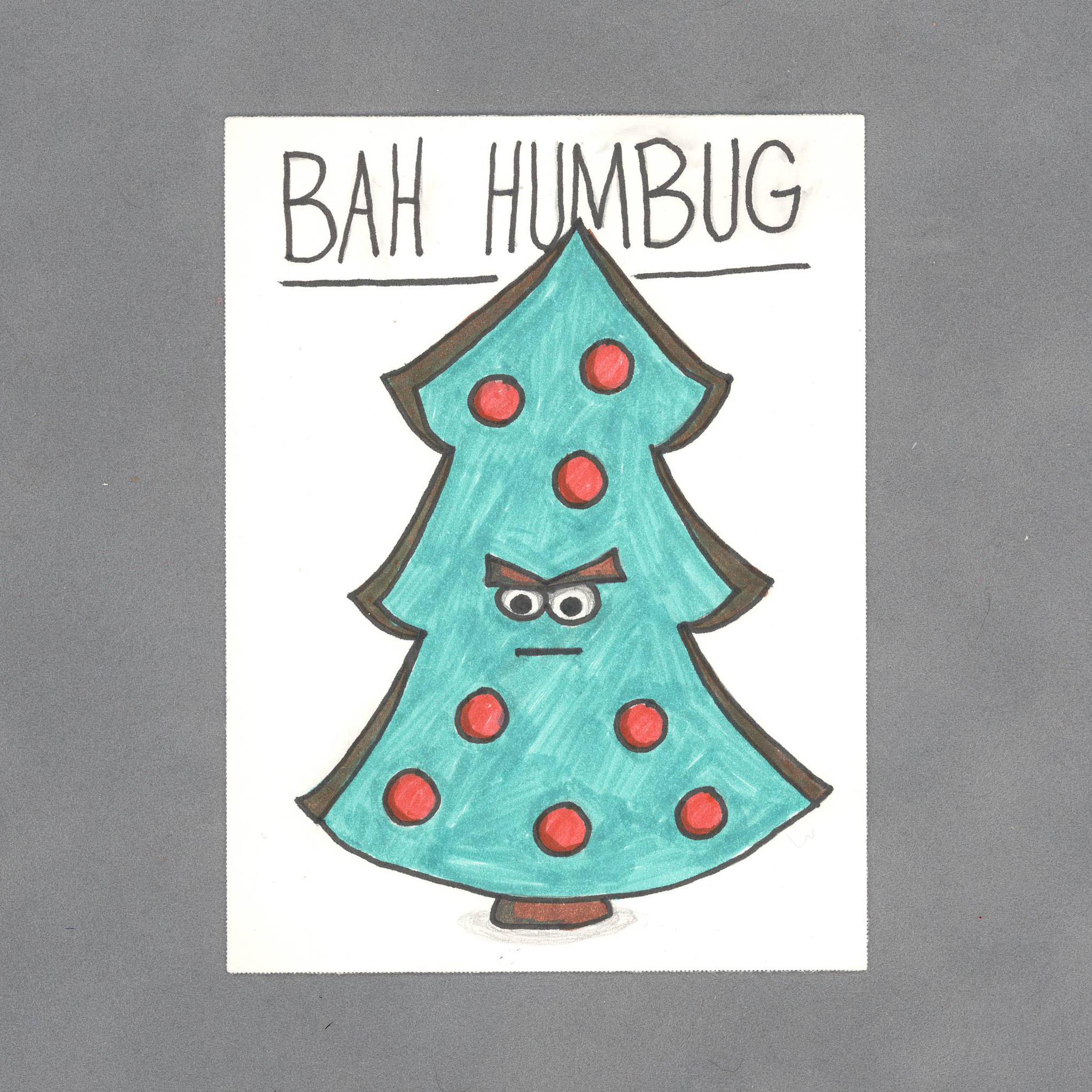 Bah Humbug Christmas Tree Art Card