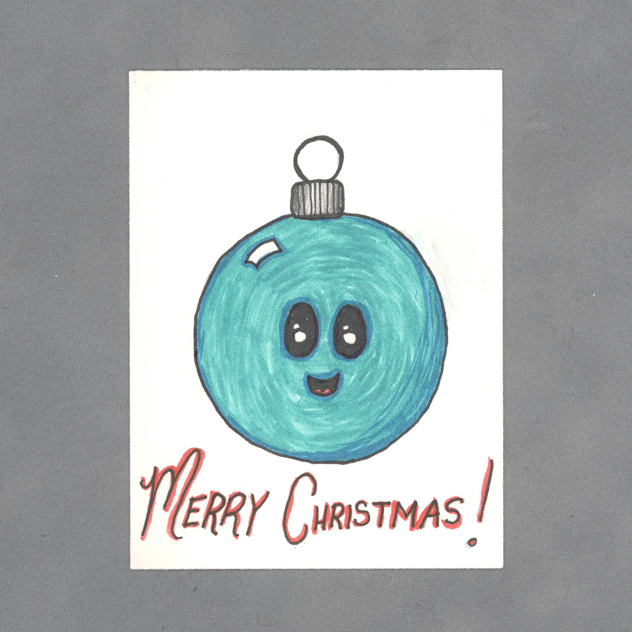 Kawaii Christmas Ball Art Card