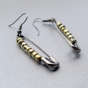 Gold Bead Safety Pin Earrings