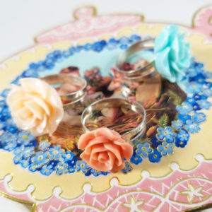 Pastel Kawaii Rose Rings
