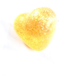 Glittery Yellow Heart Ring by Wilde Designs