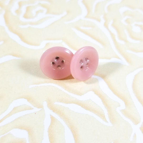 Soft Pink Button Earrings by Wilde Designs
