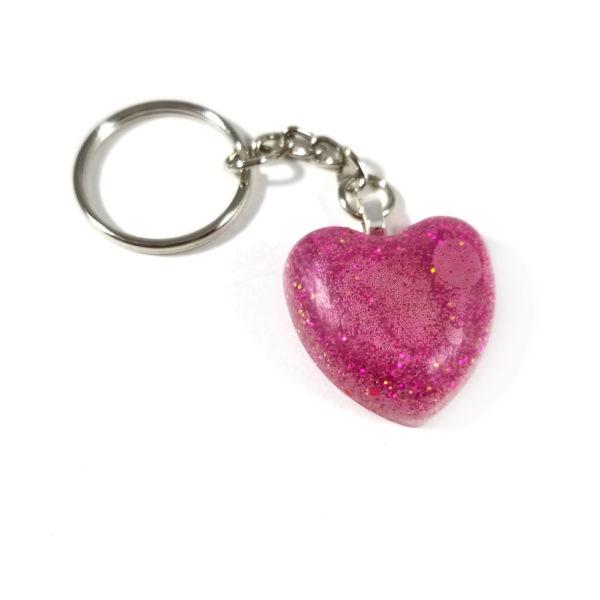 Glittery Magenta Heart Resin Keychain by Wilde Designs