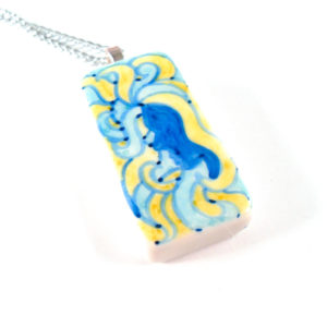 Psychedelic Lady Hand Drawn Necklace in Cool Colors by Wilde Designs