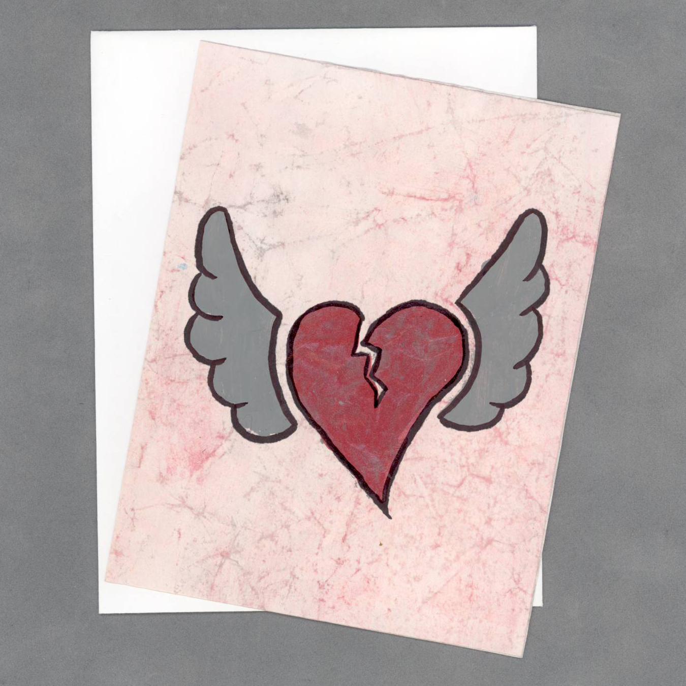 CA028HEA_RedSilver_HeartTakesFlightHandPaintedCardByWildeDesigns_01